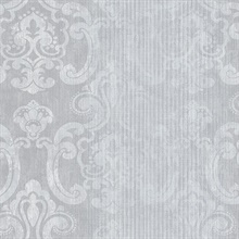 Ariana Silver Striped Damask