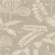 Arvada Light Grey Botanical Leaf Wallpaper