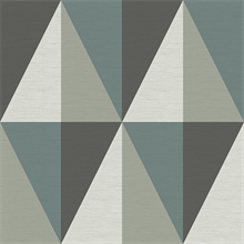 Aspect Teal Geometric Faux Grasscloth Wallpaper