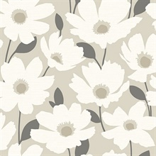 Astera Beige Floral Wallpaper