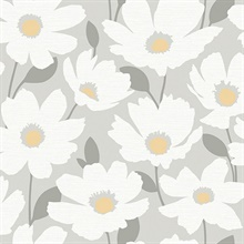 Astera Grey Floral Wallpaper