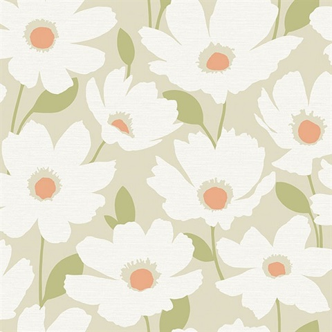 Astera Neutral Floral Wallpaper
