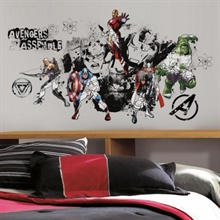 Avengers Assemble Black & White Giant Wall Decal