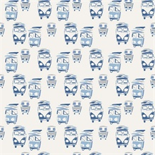 Baby Blue, Grey & White Retro Buses Wallpaper