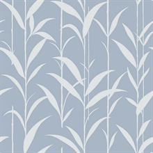 Baby Blue & White Seagrass Leaves Wallpaper