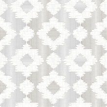 Babylon Metallic Silver and White Abstract Floral Wallpaper
