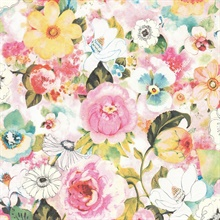 Baldwin Multicolor Watercolor Floral Wallpaper
