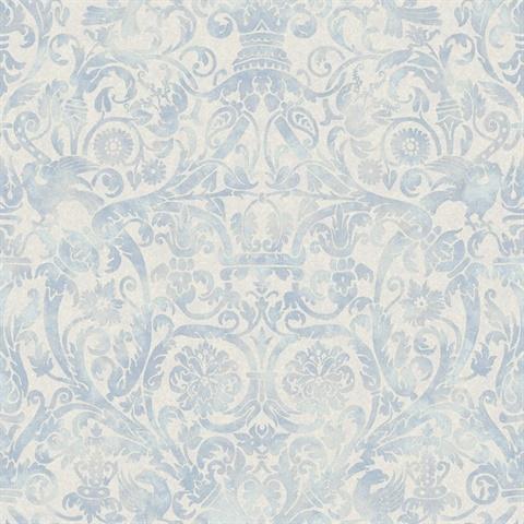Bali Blue Damask Wallpaper