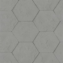 Bascom Dark Grey Stone Hexagon Textured Wallpaper