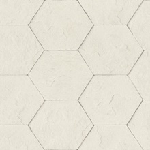 Bascom Dove Stone Hexagon Textured Wallpaper