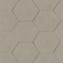Bascom Light Grey Stone Hexagon Textured Wallpaper