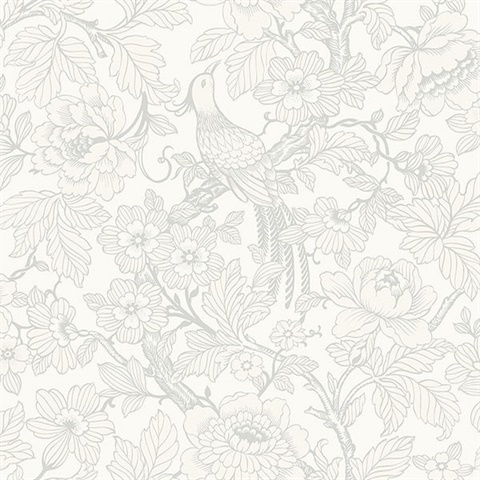 Beaufort Dove Flowers & Birds Chinoiserie Wallpaper