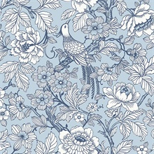 Beaufort Light Blue Flowers & Birds Chinoiserie Wallpaper