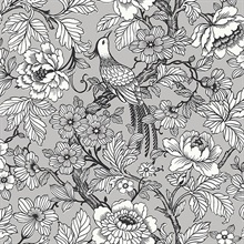 Beaufort Silver Flowers & Birds Chinoiserie Wallpaper