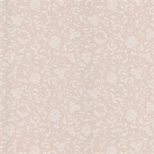 Bed Breakfast Pink Jacobean Stencil Wallpaper