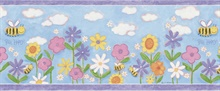 Bee Happy Blue Floral Border