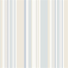 Beige and Blue Step Stripe Prepasted Wallpaper