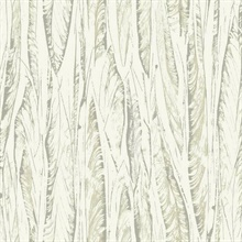 Beige & Cream Native Forest Tree Leaves Wallpaper