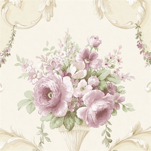Beige Floral Acanthus Scroll