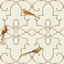 Beige & Gold Commercial Ironwork with Birds Wallpaper