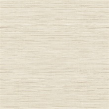 Beige Grass Texture Screen Print with Textile Strings Wallpaper