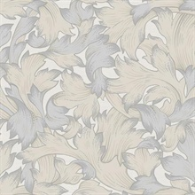 Beige & Grey Acanthus Toss Wallpaper