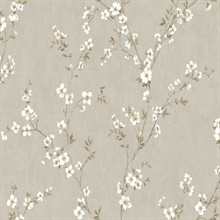 Beige, Grey & White Commercial Apple Blossoms Wallpaper
