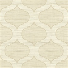 Beige Large Ogee On Textured Textile Strings Background Wallpaper