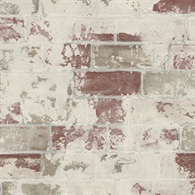 Beige & Red Deconstructed Faux Brick