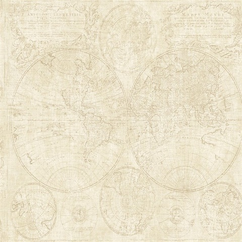Beige Vintage World Map Wallpaper