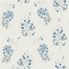 Beverly Blue Floral Wallpaper
