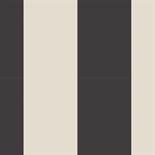 Black and Taupe Vertical 5.25in Stripe Prepasted Wallpaper