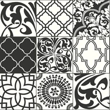 Black and White Graphic Tile