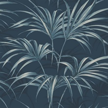 Black & Blue Commercial Open Palm Leaf Wallpaper