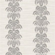 Black & Cream Palm Frond Stripe Stringcloth Textured Wallpaper