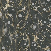 Black & Gold Marbled Endpaper Wallpaper