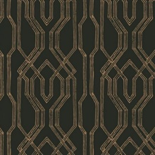 Black & Gold Oriental Lattice Wallpaper