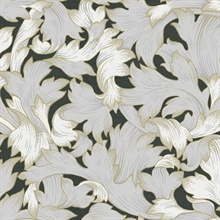 Black & Grey Acanthus Toss Wallpaper