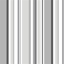 Black, Grey and White Step Stripe Prepasted Wallpaper