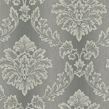 Black & Grey Commercial Damask Wallpaper