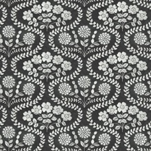 Black & Grey Folksy Floral Wallpaper