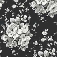 Black & Grey Heritage Rose Floral Wallpaper