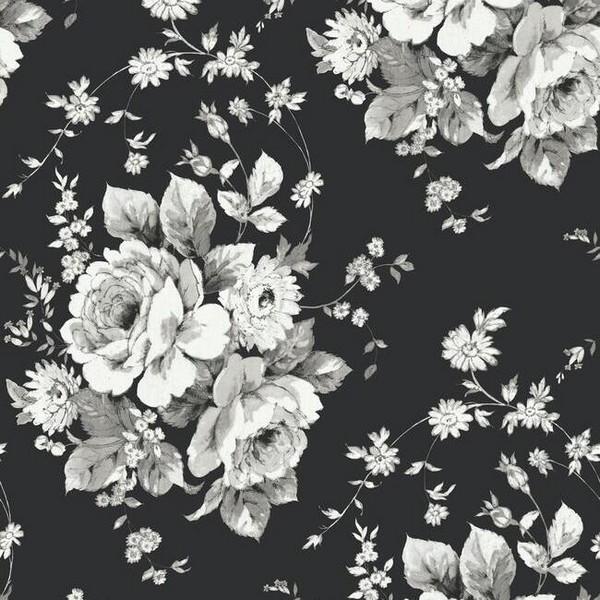 Fh4088 Black Grey Heritage Rose Floral Wallpaper