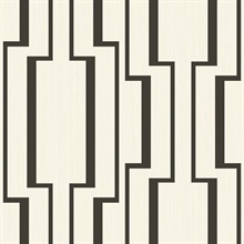 Black & Off White Abstract Geometric Lines Wallpaper