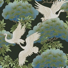 Black Sprig & Heron Wallpaper