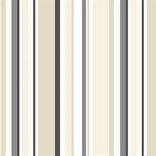 Black, Tan and Taupe Step Stripe Prepasted Wallpaper