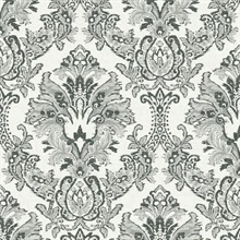 Black & White Bold Borcade Damask Wallpaper