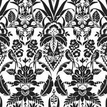 Black & White Botanical Damask