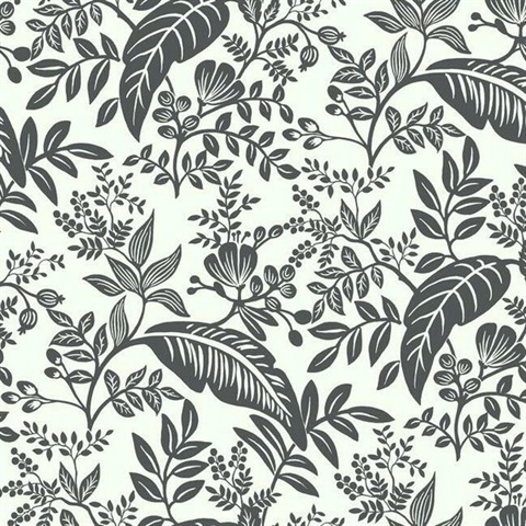 Black & White Canopy Flowers and Leaves Rifle Paper Wallpaper