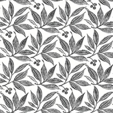 Black & White Chokeberry Tree Block Print Wallpaper